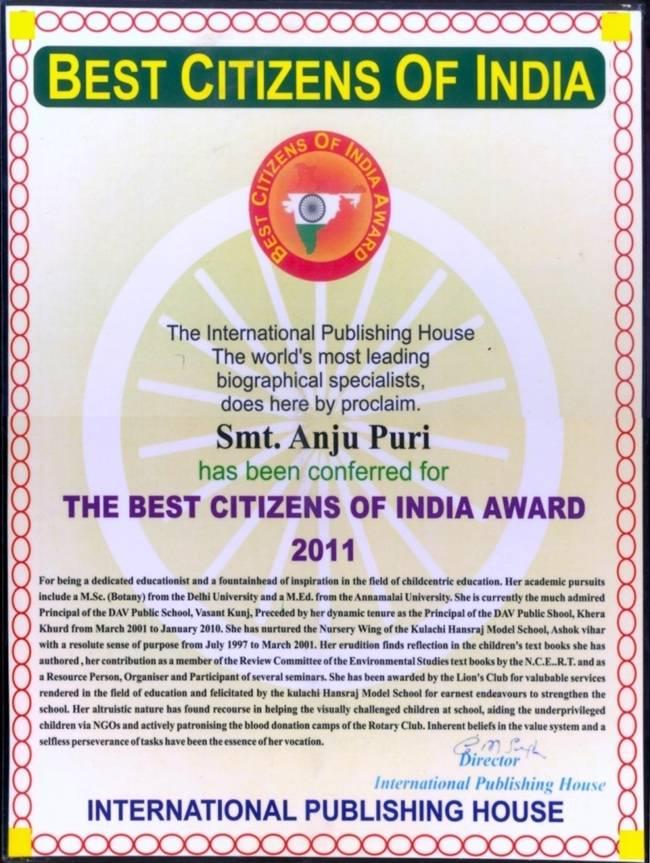best citizen of india award
