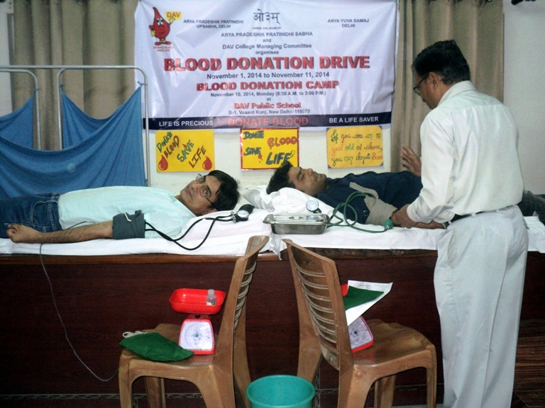 a blood donation camp in my school In the memory of its founder,kundan lal,kundan vidya mandir,civil lines organised a blood donation camp in the school premises on saturday.